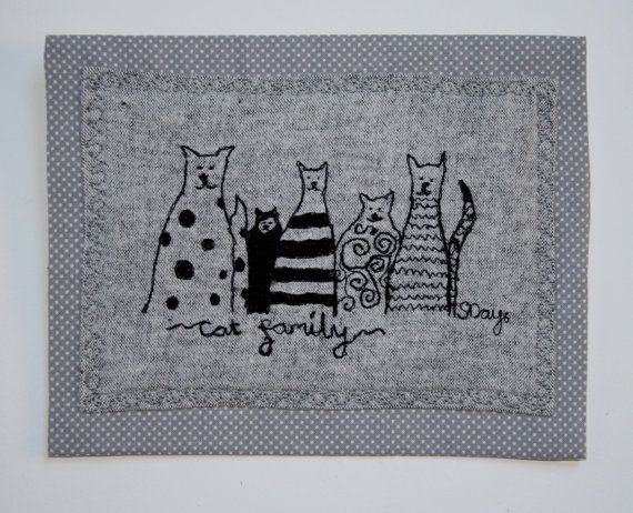 Cat Family: freehand machine embroidery textile art available from Etsy