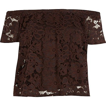 Brown lace bardot top £25 #riverisland #SpiritOfSummer
