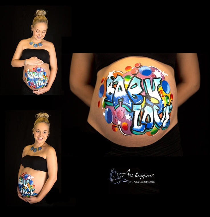 """""""Baby Love"""" belly painting by Arthappens.com.au"""