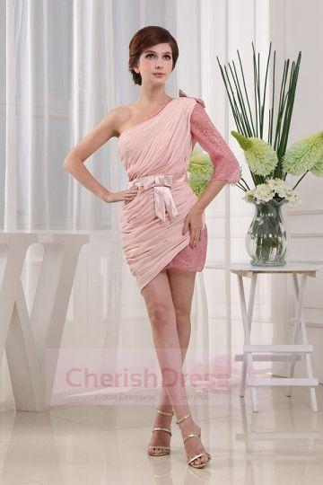 One Shoulder Split Joint Tulle Mini Ruffles Bow Prom Dress