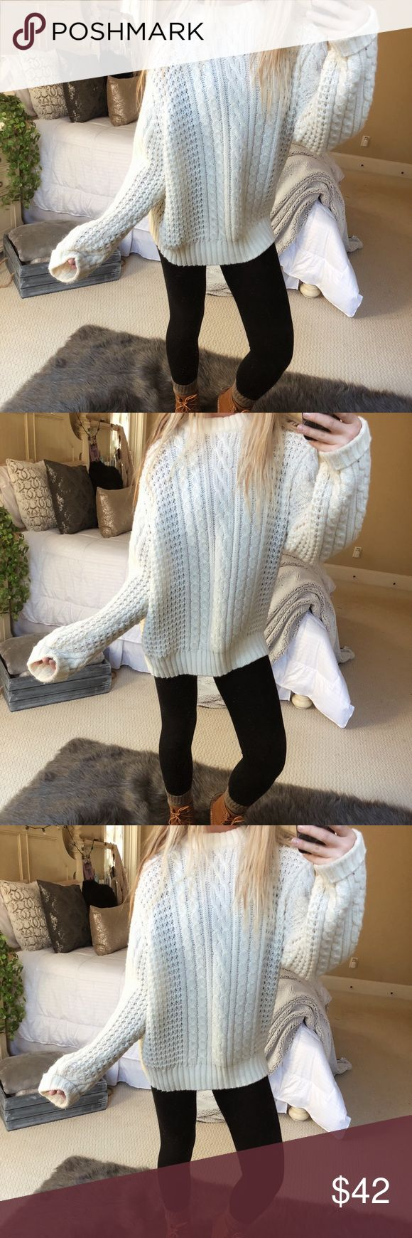 chunky off-white knit sweater super cozy and plush chunky off-white knit. so incredibly gorgeous and high quality! fits a size medium or large 🍃🌲☕️ — * all offers 100% welcomed + encouraged * bundle for a private discount of at least 20% off  * orders guaranteed to ship within 1-2 days unless stated otherwise * ask me any questions if you ever have any! xo Sweaters