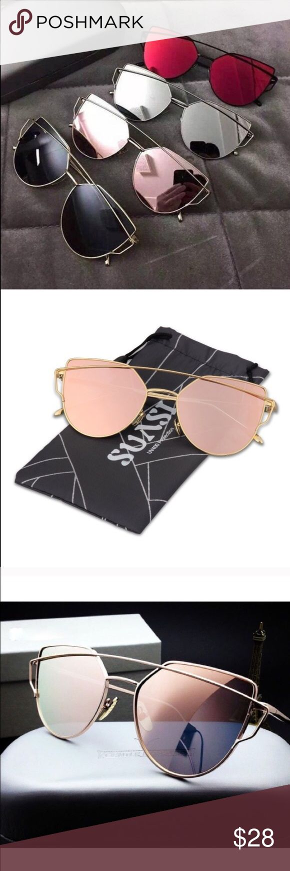 New Rose gold reflective mirrored sunglasses Brand new! I don't trade, price firm unless bundled the rims are gold and the lenses are rose gold Accessories Sunglasses