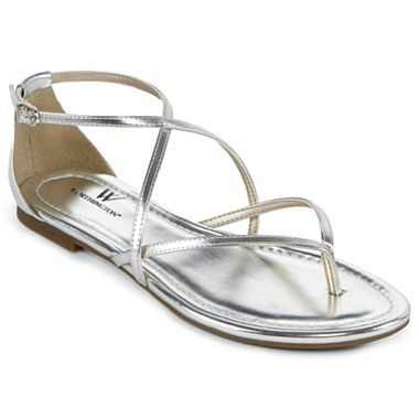 Worthington® Sara Strappy Flat Sandals - jcpenney - silver for Karen's wedding?