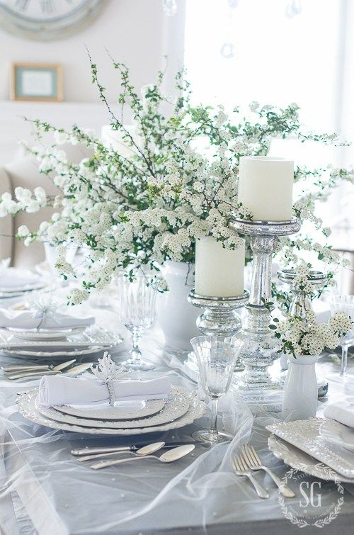 BRIDAL VEIL TABLESCAPE- for an engagement party, bridal shower, special anniversaries. White-on-white, veil tuille, pearls, sequins, polished silver. So sentimental and enchanting!