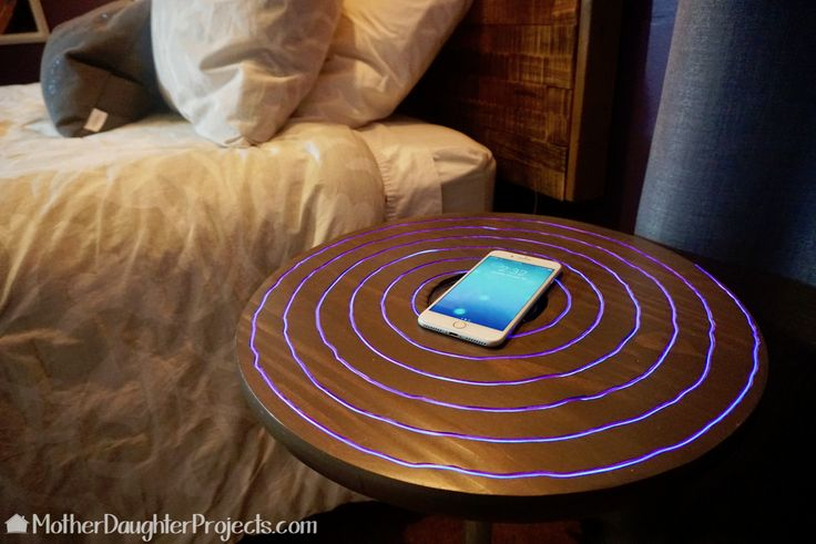 Watch this DIY video on how to use el wire in a nightstand for a neon look! This is also a wireless charger for an Apple iPhone 8, 8+, or 10.
