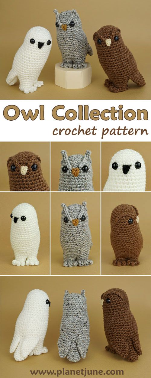 Owl Collection amigurumi crochet pattern by PlanetJune - a clever low-sew pattern with endless customisation options