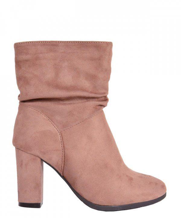 Γυναικείο Suede μποτάκια αστραγάλου ροζ με τακούνι JN7703R #torouxo #γυναικειαπαπουτσια