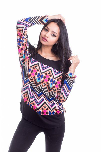 Boutique Republic Womens Two Tone Multicolor Chevron Print Long Sleeve Tunic Top