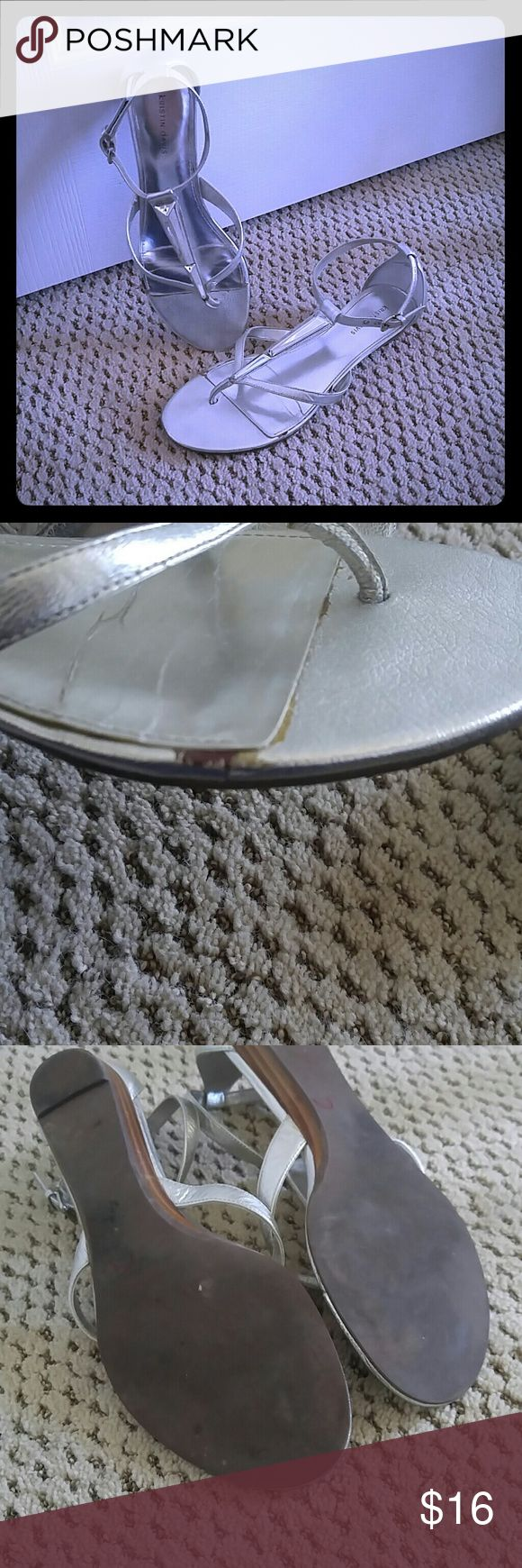 Silver flat sandals by Kristin Davis Strappy silver sandals great for dressing up or down.  Some wear as shown in the 2nd photo but overall good condition. Kristin Davis Shoes Sandals