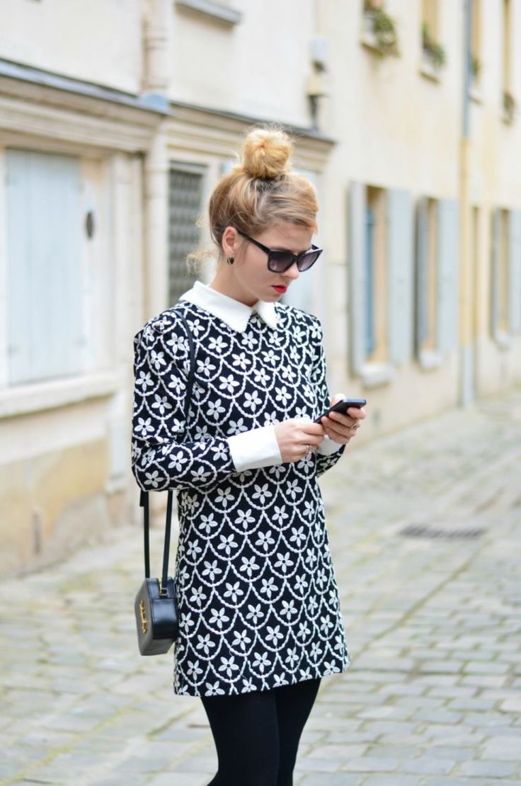 style, fashion, smart dress, simple, up do, hairstyle, bun, pattern dress, collar, sunglasses
