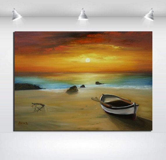 Seascape oil painting.large size free shipping by artstudioAreti, €256.62