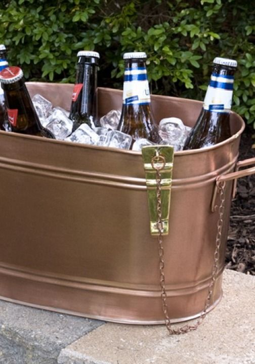 Beautiful This Copper Beverage Tub Is The Perfect Size For Setting On A Patio Table  To Keep
