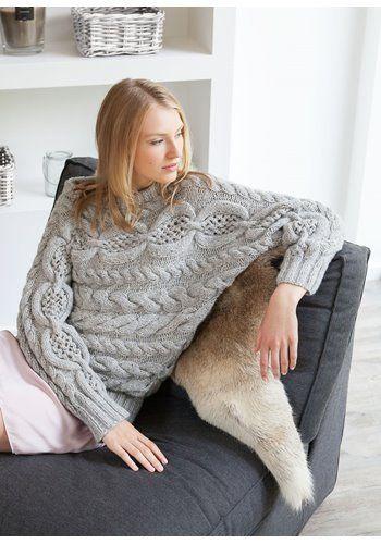 Lana Grossa KIMONOPULLI IM ZOPF-LOCHMUSTER Alta Moda Alpaca/Lace Paillettes