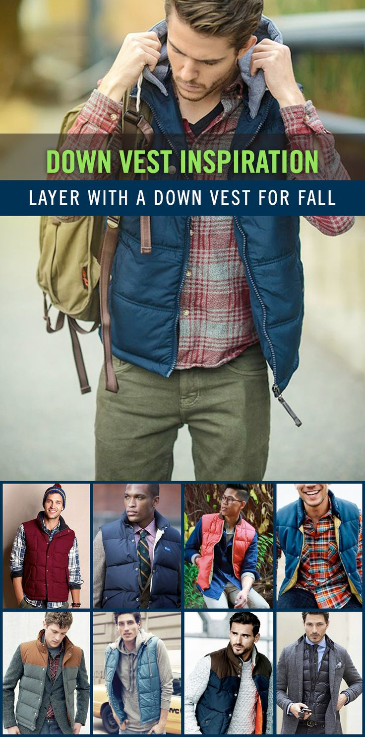 Fall is a great time to wear a down vest. The weather is just starting to get cooler, but not cold enough where you will need more protection from the elements. The down vest is great for layering, and can really complete a look. Enjoy our collection of down vest outfits for your inspiration. #mensfashion #downvest
