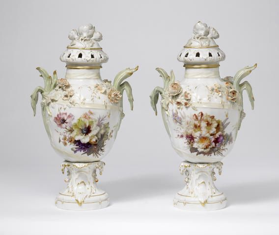A pair of Berlin pot pourri vases and covers Circa 1890