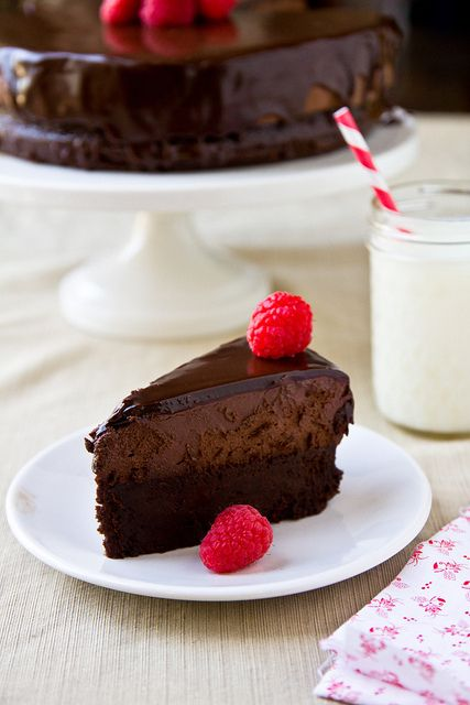 Flourless Chocolate Cake Topped with Mousse. | 21 Flourless Chocolate Desserts That Will Never Let You Down