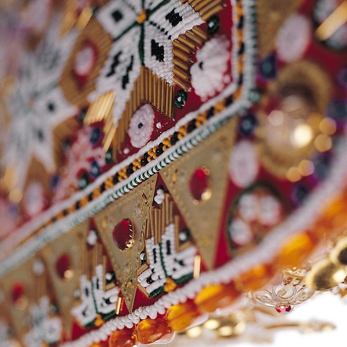 A beaded breastplate on a Norwegian bunad...most likely Hardanger.