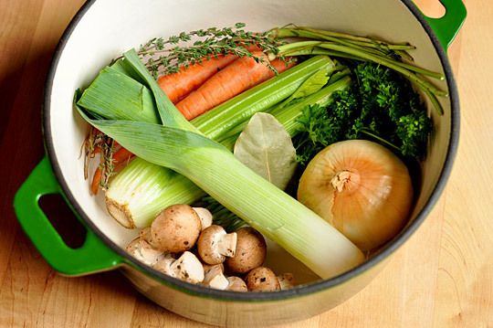 Awesome Tip Alert! Keep a big sealable bag in your freezer where you can throw vegetable odds and ends: vegetables that have wilted beyond saving, the green parts from leeks, trimmings from carrots, and so on. Once this bag gets full, we use the contents to make broth.