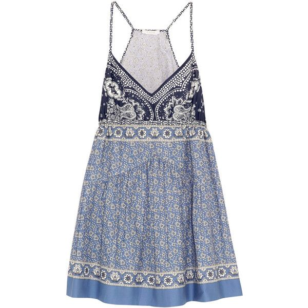 Chloé Printed cotton-voile mini dress ($1,195) ❤ liked on Polyvore featuring dresses, blue, short dresses, chloe dress, mini dress, multi colored dress and colorful dresses