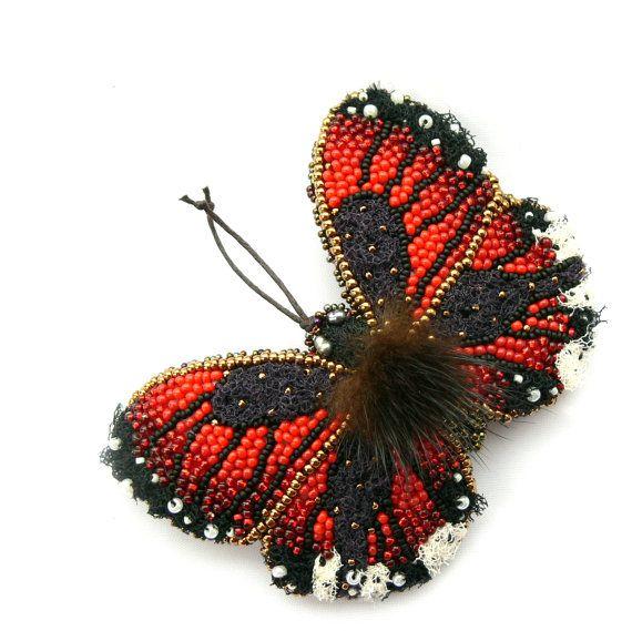 Butterfly brooch textile jewelry brooch red bead by Eniya