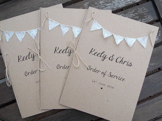 Order Of Service The Day Booklets For Church M Wedding Programme Printed On Recycled Brown Kraft Card With