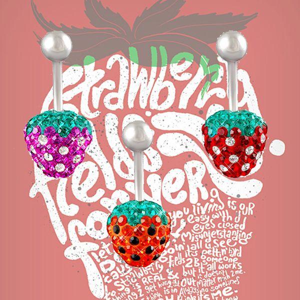 strawberry belly piercing // piercing di ombelico alla fragola