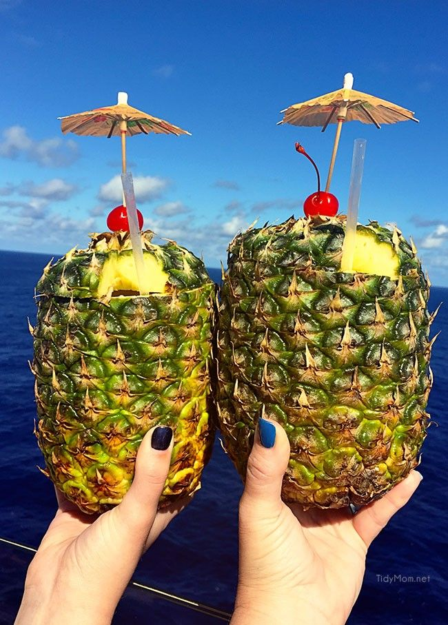Pina Coladas in a fresh pineapple on board Oasis of the Seas - more fun at TidyMom.net