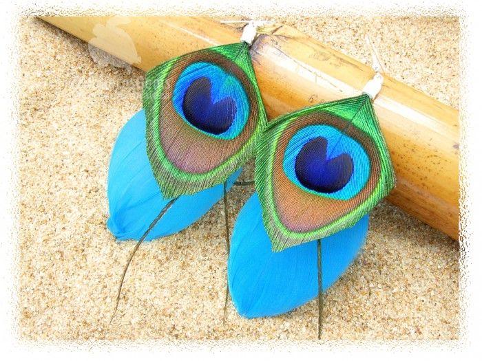 Pendientes Dakota. Pato en color azul electrico y pavo real. Plata 925.
