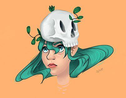 """Check out new work on my @Behance portfolio: """"Girl Skull."""" http://be.net/gallery/46476721/Girl-Skull"""