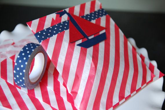 Nautical Favor Bags, Sailboat Favors, Nautical Baby Shower, Nautical Birthday Favors, 12 Sets on Etsy, $18.00
