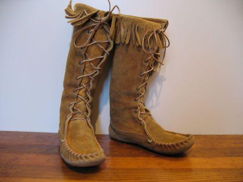 Vintage-1970-039-s-Moccasin-Fringe-Boots-Men-039-s-7-13-034-Tall-Deerskin-Leather