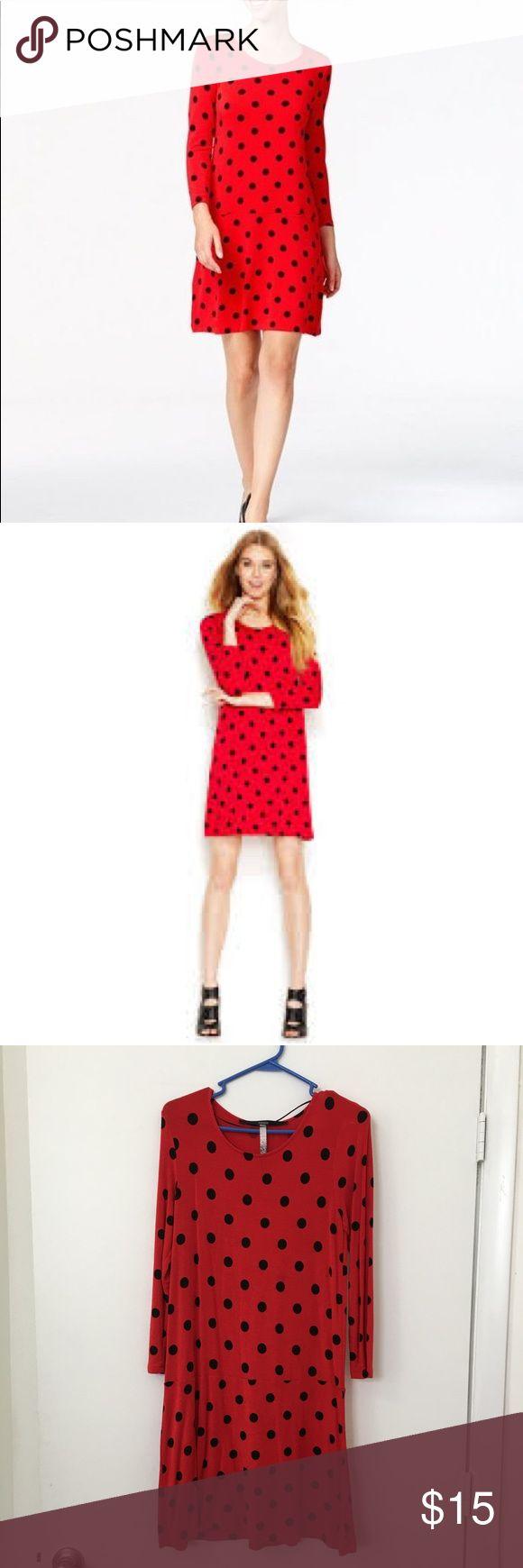 Kensie Red Dress w. Black Polka Dot Great work or night out dress, quarter sleeves, size Small Kensie Dresses Midi