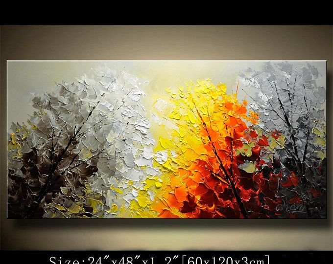 arte contemporáneo pared, árbol colorido de pintura, decoraciones, cuadros para sala de estar, acrílico con textura pintura sobre lienzo por Chen 0723