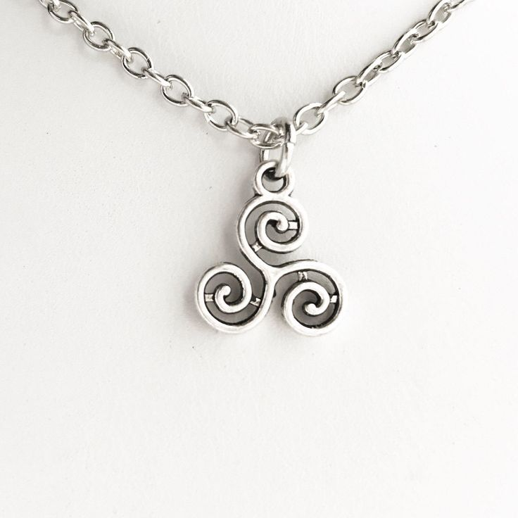 Triskelion Pendant Necklace / Pick your Length / Celtic Symbol Spiral Swirl Merlin BBC Inspired TV Cosplay Costume Renaissance Faire Druid by lydiasvintage on Etsy https://www.etsy.com/listing/504343158/triskelion-pendant-necklace-pick-your