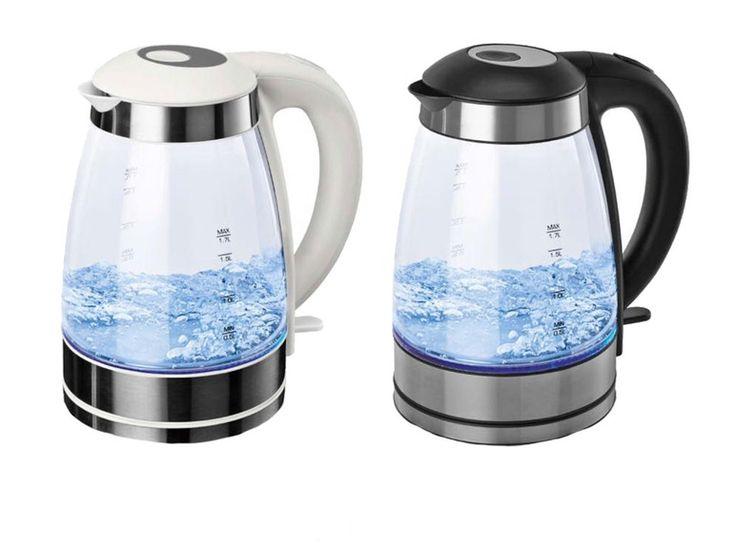 Bouilloire en verre à eau, verseuse en verre, éléments en acier inoxydable et éclairage LED, filtre anti-calcaire amovible, capacité max 1,7 litre