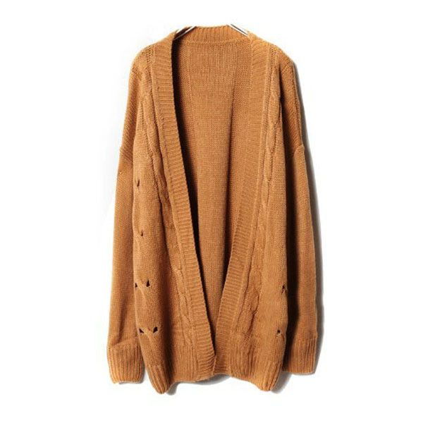 Dark Brown Knit Cardigans With Open Front Detail ($77) ❤ liked on Polyvore - Best 25+ Long Knit Cardigan Ideas On Pinterest Chunky Cardigan