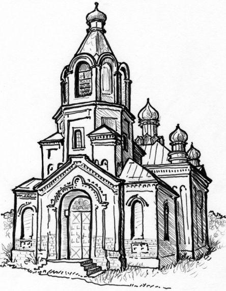 https://www.karenjanssen.net/ #Pen&InkIllustration #TravelClipart #OldChurch
