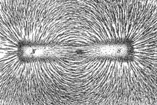 Magnetic lines of force of a bar magnet shown by iron filings on paper.
