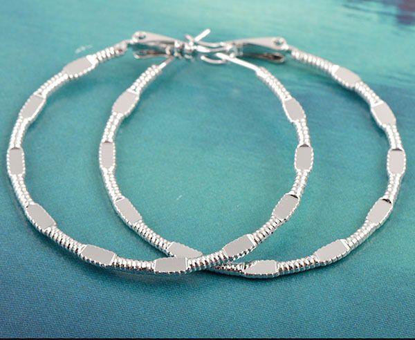 9K white gold-filled, large hoop earrings, 46mm x 2mm (1)