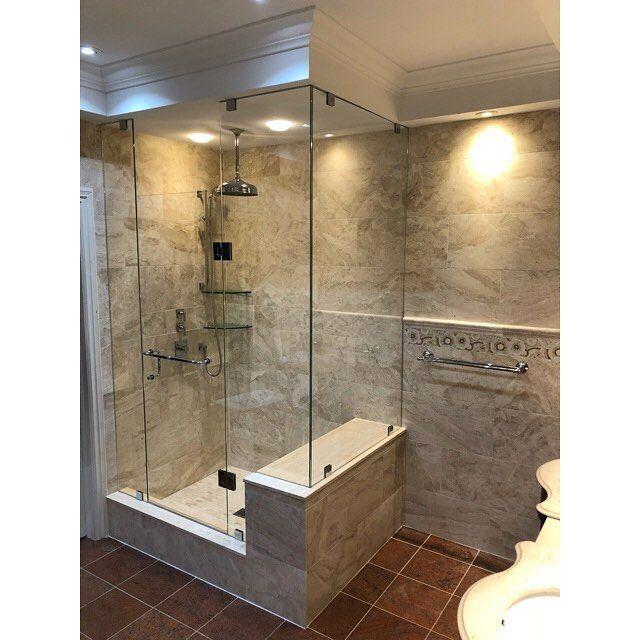 Master bathroom complete  . . . . #construction #contractor #renovation #remodel #masterbathroom #bathroom #tile #tilesetter #travertine #mosaic #marble #granite #shower #glass #glassdoor #crownmolding #trim #carpentry #carpenter #create #design #build #interiordesign #custom #toronto #oakville #mississauga #vaughan #brampton #gta