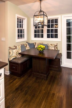 Traditional Kitchen with Oak - Saddle 2 1/4 in. Solid Hardwood Strip, TMS 3 Piece Nook Dining Set Espresso