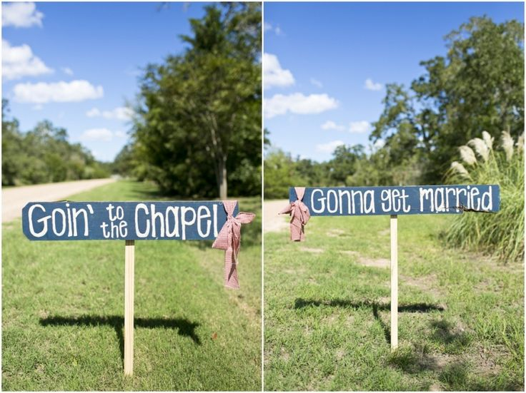 Dallas wedding photographer, barn lodge outdoor wedding venue, wedding ceremony decorations, wooden signs for wedding, goin' to the chapel and we're gonna get married wooden signs, Fall Rustic Wedding | 7F Lodge & Spa » Mary Fields Photography