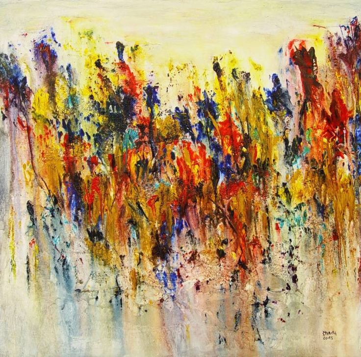 Composition DK648, a Acrylic on Canvas by Radek Smach from Czech Republic. It portrays: Nature, relevant to: positive, warm, colorfull, abstract, flowers, joy, landscape, nature Original abstract painting on canvas.  Ready to hang.  No framing required (it can be framed).
