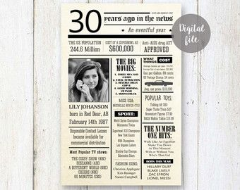 Personalized 30th birthday for her - 30th birthday gift for wife sister her women girlfriend - Best sister gift - Fun facts 1987 - DIGITAL!
