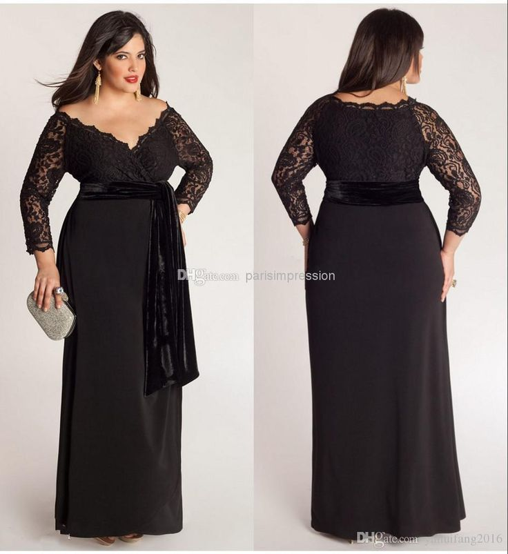 Black Plus Size Lace Long Sleeve Sheath Chiffon Evening Dresses V-Neck With Velvet Sash Floor Length Special Occasion Gowns Prom Dress Plus Size Prom Gowns Evening Dress Bridal Party Gowns Online with $159.26/Piece on Yahuifang2016's Store | DHgate.com