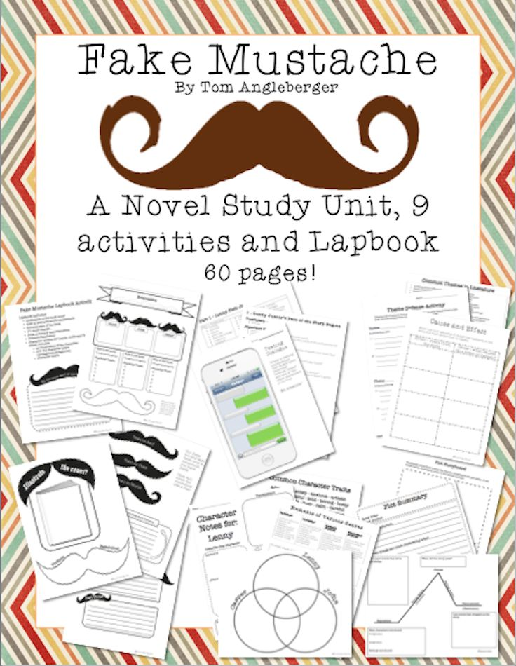 This 60 page novel study unit on Fake Mustache by Tom Angleberger contains chapter summaries, comprehension and inferring questions, a complete lapbook activity, and tons of other activities!