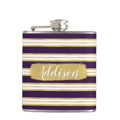 Dark Purple Gold Stripe Pattern Custom Name Hip Flask - girly gift gifts ideas cyo diy special unique