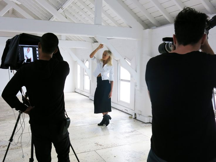 Behind the scenes shooting Ashley Hart for Who What Wear Australia. // Photographer: Dave Wheeler, hair/makeup: Fern Madden, location: The Fashion Institute, Sydney.