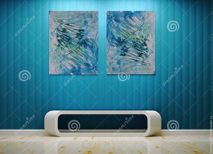 """Купить Картина """"Прорыв"""", авторская абстракция. картина. картина в офис - бирюзовый, голубой, зеленый, белый"""