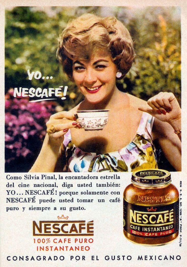 clic sobre la imagen para agrandarla  La gran Silvia Pinal en un anuncio de la campaña publicitaria con que Nescafé despidió los 50's y entr...
